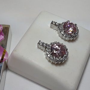 1.95ctw Pink & White CZ 925 Drop/post Earring13916